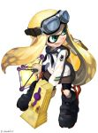 1girl absurdres ankle_boots bangs bike_shorts black_footwear black_neckwear black_shorts blonde_hair blouse blunt_bangs boots chamu_(chammkue) commentary_request domino_mask emblem fangs full_body goggles goggles_on_head highres holding holding_weapon ink_tank_(splatoon) inkling light_smile long_hair long_sleeves looking_to_the_side mask neckerchief nintendo open_mouth pointy_ears sailor sailor_collar shorts solo splat_bomb_(splatoon) splatoon splatoon_1 splattershot_jr_(splatoon) standing tentacle_hair twitter_username velcro weapon white_blouse