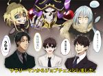 1girl 1other 4boys ainz_ooal_gown androgynous black_hair blonde_hair blue_eyes brown_hair cropped_torso crossover dress_shirt evil_grin evil_smile formal grin highres mikami_satoru multiple_boys multiple_crossover necktie open_mouth overlord_(maruyama) projected_inset rimuru_tempest sakusan_yousoeki salaryman scarf shirt skeleton slime smile suit suzuki_satoru tanya_degurechaff tensei_shitara_slime_datta_ken trait_connection translated yellow_eyes youjo_senki