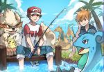 2boys :/ absurdres alolan_exeggutor arcanine barefoot black_shirt blue_pants blue_sky brown_eyes brown_hair charizard clouds creatures_(company) dratini exeggutor fishing fishing_rod game_freak gen_1_pokemon grass hand_on_own_cheek highres huge_filesize knees_up lapras looking_at_viewer male_focus multiple_boys nintendo ookido_shigeru outdoors pants pikachu pokemon pokemon_(creature) pokemon_(game) pokemon_sm red_(pokemon) shirt sitting sky soaking_feet sweat t-shirt wristband