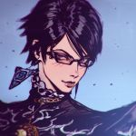 1girl alternate_hair_length alternate_hairstyle bayonetta bayonetta_(character) bayonetta_2 black-framed_eyewear black_hair brown_eyes closed_mouth earrings glasses ilya_kuvshinov jewelry lips looking_at_viewer nose short_hair smile solo upper_body violet_eyes