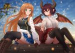 2girls animal anne_(shingeki_no_bahamut) bangs bird black_legwear black_vest blonde_hair blue_skirt blue_sky blunt_bangs blurry blurry_background boots breasts brown_footwear center_frills closed_mouth clouds cloudy_sky commentary cross-laced_footwear day depth_of_field dragon_girl dragon_horns dragon_tail dragon_wings eye_contact eyebrows_visible_through_hair frills granblue_fantasy grea_(shingeki_no_bahamut) green_eyes hair_between_eyes highres holding_hand horns kazenokaze knee_boots lace-up_boots long_hair long_sleeves looking_at_another looking_to_the_side medium_breasts multiple_girls outdoors plaid plaid_skirt pleated_skirt red_eyes red_skirt red_wings redhead scales shingeki_no_bahamut shirt short_sleeves sitting skirt sky smile tail thigh-highs thighhighs_under_boots torn_clothes torn_shirt very_long_hair vest white_shirt wings