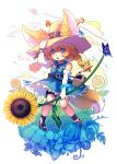 1girl abiko_yuuji animal_ear_fluff animal_ears bangs bare_shoulders blonde_hair blue_dress bracelet brown_eyes bug butterfly dress elbow_gloves eyebrows_visible_through_hair flower food fox_ears fox_girl fox_tail fruit full_body gloves grass hat hat_belt highres holding holding_flower insect jewelry legs_apart long_hair open_mouth original solo standing summer sunflower tail teeth thigh_strap watermelon white_background white_gloves yellow_flower yellow_hat