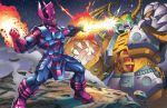 2boys battle beam clash claws crossover dan-the-artguy duel energy eye_beam galactus glowing glowing_eyes green_eyes helmet horns marvel mecha multiple_boys no_humans oldschool robot science_fiction size_difference smoke transformers unicron wings