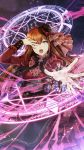 1girl absurdres alternate_costume blue_eyes bow bowtie brown_hair corset cowboy_shot dress frilled_dress frills hand_over_eye hat highres huke long_hair long_sleeves looking_at_viewer magic_circle makise_kurisu mini_hat official_art open_mouth outstretched_hand puffy_long_sleeves puffy_sleeves red_dress solo steins;gate straight_hair
