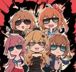 5girls ahoge alternate_costume animal_ears bikini_top bomber_jacket cat_ears commentary_request diamond drooling explosion ganesagi girls_frontline gloves grizzly_mkv_(girls_frontline) hair_ornament idw_(girls_frontline) jacket kalina_(girls_frontline) m1918_bar_(girls_frontline) multiple_girls ntw-20_(girls_frontline) pointy_ears sarong sunglasses