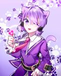 1girl ahoge aisha_(elsword) animal_ears belt cat_ears cat_tail chuki_(lydia) elsword heart highres long_sleeves necktie one_eye_closed paw_print purple_hair short_hair tail violet_eyes