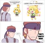 1boy 1girl 4koma absurdres animal_ears blonde_hair blush_stickers bodysuit closed_eyes comic dog dog_ears dog_tail doubutsu_no_mori english flower happy headband highres metal_gear_(series) metal_gear_solid nintendo shizue_(doubutsu_no_mori) simple_background skirt smile solid_snake speech_bubble super_smash_bros. super_smash_bros_ultimate tail theycallhimcake topknot white_background