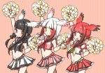3girls alternate_costume bangs black-headed_ibis_(kemono_friends) black_hair blush braid cheerleader commentary_request cowboy_shot crop_top hair_bobbles hair_ornament hand_up japanese_crested_ibis_(kemono_friends) kemono_friends midriff multicolored_hair multiple_girls navel neckerchief open_mouth petit_ramune pleated_skirt pom_poms red_eyes redhead sailor_collar scarlet_ibis_(kemono_friends) short_hair sidelocks skirt sleeveless smile tank_top twin_braids twintails white_hair yellow_eyes