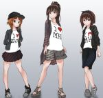 3girls alternate_hairstyle animal_print baseball_cap bear_print black_footwear black_hairband black_hat black_jacket black_skirt brown_eyes brown_hair casual closed_mouth clothes_writing commentary english girls_und_panzer goripan gradient gradient_background grey_background grey_footwear grey_jacket grey_shorts hairband hands_in_pockets hat heart heart_print jacket light_frown miniskirt mother_and_daughter multiple_girls nishizumi_maho nishizumi_miho nishizumi_shiho no_legwear pleated_skirt ponytail print_shirt sandals shirt shoes shorts siblings sisters skirt sneakers white_shirt