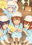 6+girls akatsuki_(kantai_collection) black_hair blue_eyes blue_shirt box brown_eyes brown_hair character_request commentary_request cosplay faceless faceless_female flag flat_cap folded_ponytail full_body grey_hat grey_shorts hat hataraku_saibou hibiki_(kantai_collection) holding holding_flag ikazuchi_(kantai_collection) inazuma_(kantai_collection) kantai_collection key_kun long_hair looking_at_viewer multiple_girls platelet_(hataraku_saibou) platelet_(hataraku_saibou)_(cosplay) pointing red_blood_cell_(hataraku_saibou) red_blood_cell_(hataraku_saibou)_(cosplay) sakawa_(kantai_collection) shirt short_hair shorts signature silver_hair twitter_username violet_eyes white_blood_cell_(hataraku_saibou) white_blood_cell_(hataraku_saibou)_(cosplay) white_hat