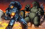 american battle blank_eyes city claws crossover dan-the-artguy destruction duel fire gipsy_danger godzilla godzilla_(series) kaijuu mecha mechanical_arms monster no_humans open_mouth pacific_rim punching scales science_fiction sharp_teeth sunset tail teeth tokusatsu visor