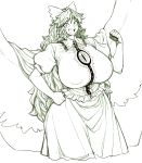 1girl breasts cape clenched_hands collar covered_nipples cowboy_shot eyebrows_visible_through_hair frills gigantic_breasts hair_ribbon hand_on_hip highres hips long_hair looking_at_viewer monochrome open_mouth puffy_nipples reiuji_utsuho ribbon skirt smile space_jin third_eye touhou wings