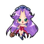 chibi green_eyes imahia purple_hair saihia seiken_densetsu seiken_densetsu_3 simple_background solo staff