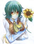 breast_hold breasts bust crossed_arms flower green_hair holding holding_flower kazami_yuuka plaid_vest red_eyes short_hair sunflower suzumura_tomo touhou white_background