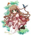 bird_on_shoulder blush brown_hair character_name green_eyes hiduki_yayoi hizuki_yayoi kanbe_kotori kotori long_hair rewrite thighhighs title_drop
