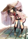 1girl black_hair bow cane fang hat japanese_clothes leaning_forward long_hair open_mouth original red_eyes rice_hat sandals shade solo standing tabi tassel veil yuuki_rika