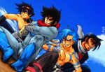 4boys black_hair blue_hair character_request crossover dutch_angle getter_robo goggles goggles_on_head grin kamina multiple_boys nagare_ryoma scarf shirtless simon sitting smile tattoo tengen_toppa_gurren_lagann wrato