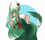 \m/ ex-keine ex_keine exkeine green_hair horns kamishirasawa_keine long_hair ooike_teru red_eyes ribbon tail touhou
