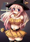 breasts cleavage glasses halloween hat long_hair lucky_star midriff navel pink_hair pumpkin purple_eyes six_alchemy takara_miyuki tekehiro thigh-highs thighhighs violet_eyes witch_hat