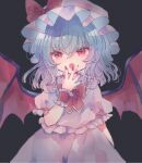 1girl bat_wings black_background blood blood_on_face blue_hair bow fang fingernails hand_up hat hat_bow hiyuu_(hiyualice) long_fingernails looking_at_viewer medium_hair mob_cap open_mouth pink_headwear pink_shirt pink_skirt red_bow red_eyes red_nails red_neckwear remilia_scarlet shirt short_sleeves simple_background skirt solo touhou wings wrist_cuffs