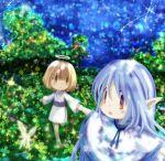 blue_hair butterflies butterfly hakobune halo nature night pointy_ears star stars