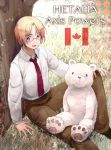 1boy ahoge axis_powers_hetalia bear blonde_hair blush canada_(hetalia) kumajirou_(hetalia) male necktie open_mouth short_hair smile tanedahiwa_(carduelini) violet_eyes