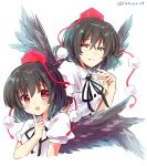 2girls artist_name bangs black_hair black_neckwear black_ribbon black_wings blush breasts commentary_request cropped_torso dual_persona eyebrows_visible_through_hair feathered_wings finger_to_face grin hair_between_eyes half-closed_eyes hand_up hat highres index_finger_raised looking_at_another medium_breasts multiple_girls neck_ribbon open_mouth pom_pom_(clothes) puffy_short_sleeves puffy_sleeves ramudia_(lamyun) red_eyes ribbon shameimaru_aya shirt short_hair short_sleeves simple_background smile tassel tokin_hat touhou twitter_username upper_body white_background white_shirt wing_collar wings