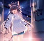 1girl :d ^_^ animal_ear_fluff animal_ears antenna_hair blue_shorts blurry blurry_background blush breasts brown_hair cat_ears cat_girl cat_tail closed_eyes closed_eyes commentary depth_of_field facing_viewer fangs highres kurokuma_(kuro_kumagaya) long_hair long_sleeves medium_breasts night night_sky open_mouth original outdoors puffy_long_sleeves puffy_sleeves shirt short_shorts shorts sky smile solo standing star_(sky) starry_sky tail very_long_hair white_shirt