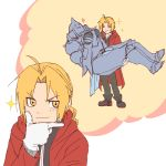 2boys :3 alphonse_elric antenna_hair apron armor black_pants black_shirt blonde_hair blush boots brothers carrying closed_eyes coat edward_elric eyebrows_visible_through_hair frown full_armor full_body fullmetal_alchemist gloves grin heart imagining looking_away male_focus multiple_boys pants princess_carry red_coat shirt siblings simple_background smile sparkle tabixneko thought_bubble upper_body white_background white_gloves yellow_eyes