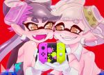 +_+ aori_(splatoon) black_hair blush brown_eyes chichi_band commentary_request controller cousins detached_collar domino_mask eyebrows_visible_through_hair face-to-face fangs food food_on_head game_controller gloves grey_hair grin hotaru_(splatoon) long_hair mask mole mole_under_eye nintendo nintendo_switch object_on_head open_mouth paint_splatter short_hair smile splatoon splatoon_1 strapless symmetrical_hand_pose tentacle_hair white_gloves yuri