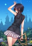 1girl adsouto arm_up black_hair blue_eyes blue_sky castle frilled_sleeves frills from_behind highres holding holding_weapon keyblade kingdom_hearts kingdom_key looking_at_viewer looking_back pleated_skirt short_hair skirt sky sleeveless solo weapon white_skirt xion_(kingdom_hearts)