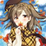 1girl autumn_leaves bangs beret blue_sky blush brown_eyes brown_hair brown_hat cardigan closed_mouth clouds cloudy_sky commentary_request day dress_shirt eyebrows_visible_through_hair hair_between_eyes hair_ribbon hat head_tilt holding holding_leaf leaf looking_at_viewer lowres maple_leaf masuishi_kinoto necktie off_shoulder open_cardigan open_clothes original outdoors plaid plaid_shirt ribbon shirt sky smile solo two_side_up white_cardigan yellow_ribbon yellow_shirt