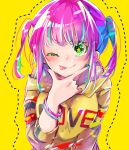 1girl ;p bangle blonde_hair blue_hair blue_nails bracelet breasts closed_mouth clothes_writing commentary_request dotted_line english fingernails green_eyes green_hair hand_on_own_chin highres hood hood_down hoodie jewelry long_hair long_sleeves looking_at_viewer medium_breasts multicolored multicolored_hair multicolored_nails nail_polish naoton one_eye_closed original purple_hair purple_nails sidelocks smile solo star star-shaped_pupils symbol-shaped_pupils tongue tongue_out twintails two-tone_hair upper_body yellow_background yellow_hoodie
