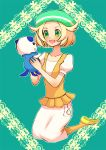 1girl ;d animal bag bel_(pokemon) blonde_hair blush breasts commentary_request creatures_(company) dress full_body game_freak gen_5_pokemon green_eyes green_hat handbag hat jacket medium_hair nintendo one_eye_closed open_mouth orange_jacket orange_legwear oshawott pantyhose pokemon pokemon_(creature) pokemon_(game) pokemon_bw smile white_dress