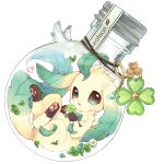96mame bottle character_name clover creatures_(company) four-leaf_clover game_freak gen_4_pokemon green_eyes heart highres in_bottle in_container leafeon looking_at_viewer nintendo no_humans open_mouth pokemon pokemon_(creature) simple_background solo white_background