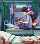 1boy 1girl absurdres bed blood blue_hair closed_eyes corpse displayer full_body hair highres hospital hospital_bed hug knife long_hair phone short_hair shorts smile yandere yandere_girl