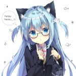 1girl :o animal_ear_fluff animal_ears bag bangs black_jacket blazer blue_eyes blue_hair blue_nails brown_cardigan cardigan cat_ears cat_hair_ornament collared_shirt commentary_request eyebrows_visible_through_hair fingernails glasses grey-framed_eyewear hair_between_eyes hair_ornament highres holding_strap index_finger_raised jacket long_sleeves nail_polish neck_ribbon original parted_lips pink_ribbon ribbon saeki_sora school_bag semi-rimless_eyewear shirt simple_background sleeves_past_wrists solo sparkle speech_bubble two_side_up under-rim_eyewear upper_body white_background white_shirt