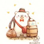 artist_name backpack bag bear black_hat blush bow bowtie handbag hat leaf no_humans original red_bow red_neckwear shopping_bag signature st.kuma standing suitcase traditional_media watercolor_(medium)