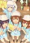 1boy 6+girls akatsuki_(kantai_collection) black_hair blue_eyes blue_shirt box brown_eyes brown_hair cabbie_hat cardboard_box character_request commentary cosplay faceless faceless_female flag flat_cap folded_ponytail grey_hat grey_shorts hair_between_eyes hat hataraku_saibou hibiki_(kantai_collection) highres holding holding_flag ikazuchi_(kantai_collection) inazuma_(kantai_collection) jacket kantai_collection key_kun long_hair looking_at_viewer multiple_girls open_mouth platelet_(hataraku_saibou) platelet_(hataraku_saibou)_(cosplay) pointing purple_hair red_blood_cell_(hataraku_saibou) red_blood_cell_(hataraku_saibou)_(cosplay) red_jacket sakawa_(kantai_collection) shirt short_hair shorts signature silver_hair twitter_username violet_eyes white_blood_cell_(hataraku_saibou) white_blood_cell_(hataraku_saibou)_(cosplay) white_hat