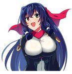 1girl :d asama_tomo bangs blue_hair breasts dark_blue_hair eyebrows_visible_through_hair green_eyes hair_between_eyes hair_tubes heterochromia kyoukaisenjou_no_horizon large_breasts long_hair looking_at_viewer open_mouth red_eyes sayshownen simple_background smile solo white_background