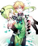 1boy 1girl bare_shoulders carrying chuki_(lydia) detached_sleeves elf elsword green_eyes green_hair highres pointy_ears princess_carry rena_(elsword) side_ponytail smile sweatdrop ventus_(elsword) wind_sneaker_(elsword)