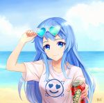 1girl beach blue_eyes blue_hair blush breasts closed_mouth collarbone day eyebrows_visible_through_hair eyewear_on_head heart heart-shaped_eyewear highres long_hair looking_at_viewer medium_breasts mikmix ocean original outdoors signature smile solo summer sunglasses