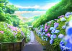 artist_name beach blue_sky bush day flower highres house landscape mountain no_humans ocean original outdoors railing sachiko15 scenery signature sky stairs tree
