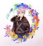 1boy arm_behind_back artist_name belt brown_cape brown_eyes eyebrows_visible_through_hair flower hand_up highres long_sleeves looking_at_viewer mabinogi male_focus monet930 silver_hair simple_background smile standing