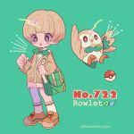 1boy artist_name bag bangs beak bird blunt_bangs blush bow bowl_cut bowtie brown_footwear character_name creatures_(company) english freckles full_body game_freak gen_7_pokemon green_background green_bag holding_strap light_brown_hair long_sleeves mameeekueya moemon nintendo open_mouth owl personification poke_ball pokemon pokemon_(creature) pokemon_number rowlet shoes short_hair shorts shoulder_bag simple_background standing star wings