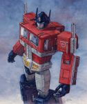 80s autobot from_above ground_vehicle hector_trunnec highres insignia machine machinery mecha motor_vehicle no_humans oldschool optimus_prime robot science_fiction signature traditional_media transformers truck watercolor_(medium)