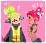 ! agent_8 alternate_hairstyle black_eyes black_shirt black_skin blush bracelet chichi_band closed_mouth crop_top dark_skin from_side frown green_hair hair_up hands_together headgear heart inkling interlocked_fingers jewelry looking_at_viewer makeup mascara midriff nintendo notice_lines octarian octoling pink_background pointy_ears redhead shirt short_hair smile splatoon splatoon_2 splatoon_2:_octo_expansion squidbeak_splatoon standing sweatdrop tentacle_hair topknot upper_body vest violet_eyes watermark yellow_vest