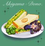 1girl :d akiyama_yukari alternate_costume bangs bc_freedom_(emblem) bc_freedom_school_uniform black_skirt blue_neckwear blue_sweater broccoli brown_eyes brown_hair cardigan chaki_(teasets) character_name chibi cursive diagonal_stripes dress_shirt emblem food food_on_face girls_und_panzer green_background holding lettuce long_sleeves looking_at_viewer lying messy_hair minigirl miniskirt necktie on_side open_mouth plate pleated_skirt red_neckwear sandwiched school_uniform shirt short_hair skirt smile solo sparkle striped striped_neckwear sweater white_shirt wing_collar