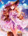 1girl bird blue_sky breasts brown_hair cleavage clouds copyright_name dress eyebrows_visible_through_hair floating_hair gloves green_eyes hat hat_ribbon holding holding_umbrella long_hair medium_breasts official_art outdoors purple_ribbon purple_umbrella ribbon rioka_(southern_blue_sky) shiny shiny_hair short_dress short_sleeves sky solo standing sun_hat sundress tenkuu_no_crystalia umbrella very_long_hair white_gloves
