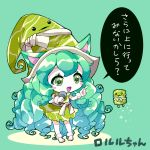 1girl :d animal_ears bangs blush_stickers boots cat_ears commentary_request dress eyebrows_visible_through_hair gloves green_background green_dress green_eyes green_hair green_hat hair_between_eyes hands_up hat holding holding_microphone index_finger_raised league_of_legends long_hair lulu_(league_of_legends) microphone open_mouth pikomarie sleeveless sleeveless_dress smile solo sparkle translation_request very_long_hair white_footwear white_gloves witch_hat